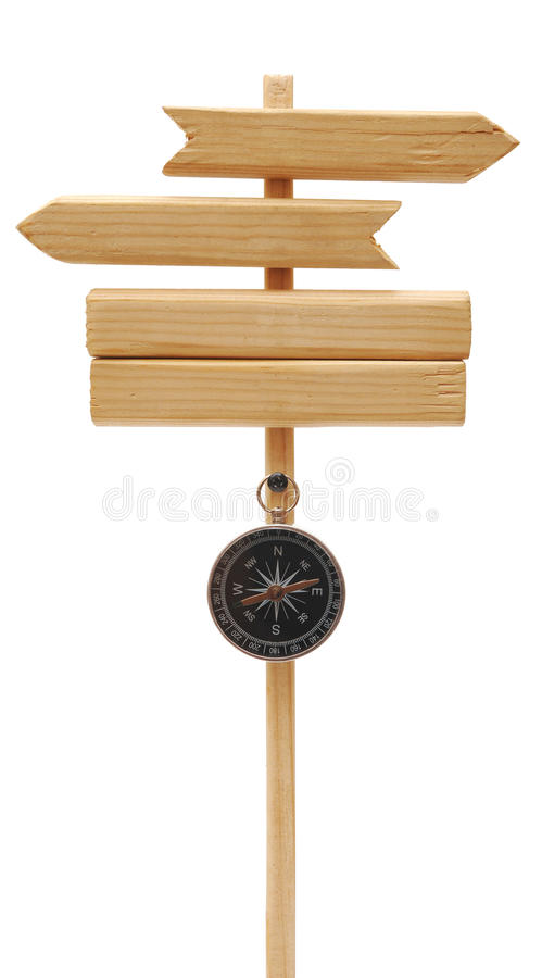 Download Wooden Arrows Road Sign With Compass Stock Image - Image: 18914603