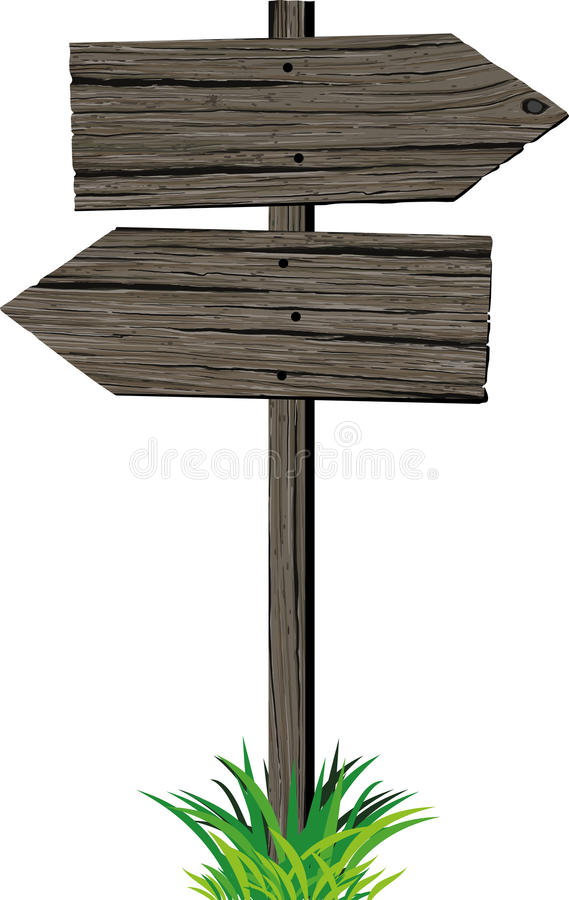 Wooden arrows road sign royalty free illustration