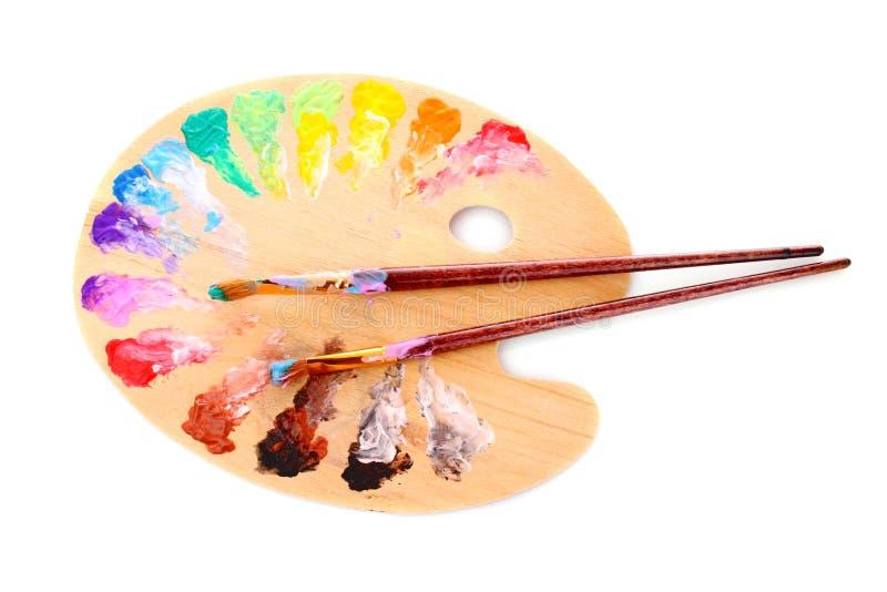 Wooden art palette stock photo