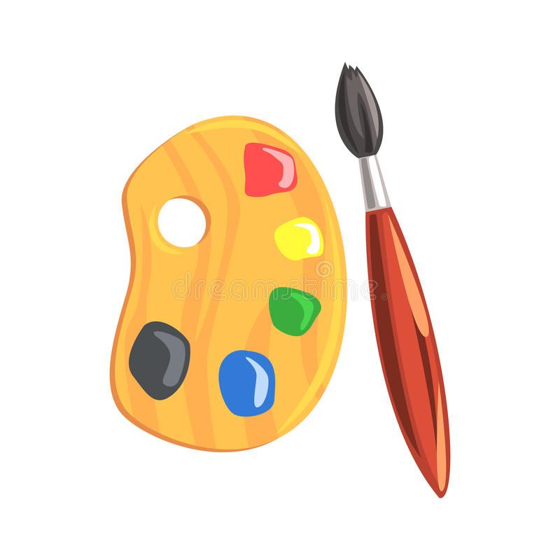 Wooden art palette and paintbrush. Colorful cartoon vector Illustration vector illustration