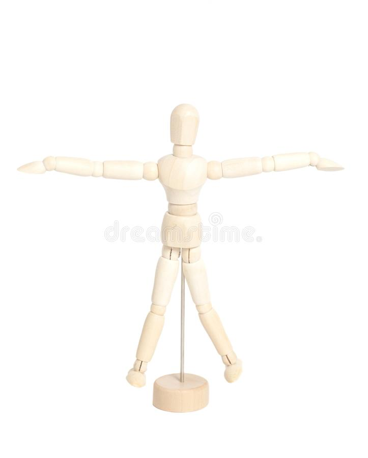 Wooden artist mannequin representation vitruvian man royalty free stock photography