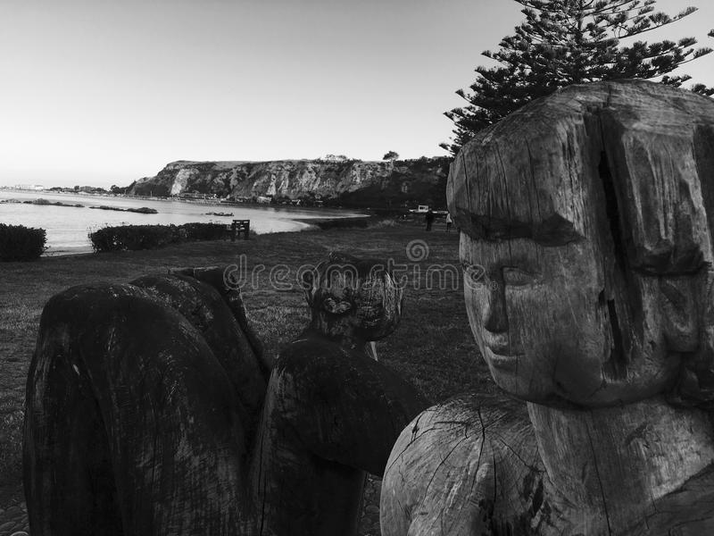 Wooden Artwork looking over Kaikoura Beach royalty free stock images