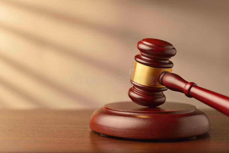Wooden auctioneer or judges gavel royalty free stock photos