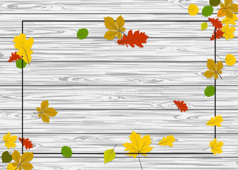 Wooden autumn border leaf background. Vintage autumn wooden background. Fall yellow tree maple leafs vector design. Season nature border banner. Advertising sale stock illustration