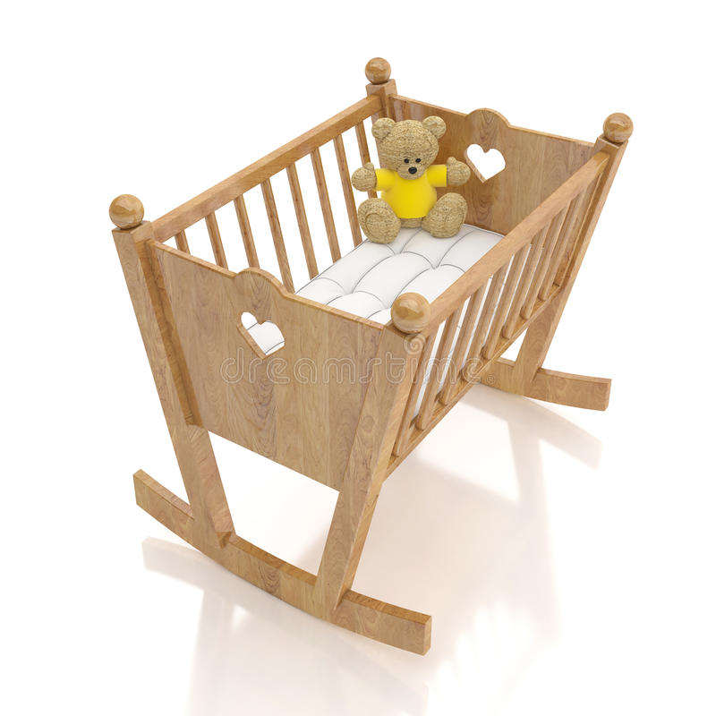 Wooden baby cradle with bear toy isolated on white background royalty free stock photos