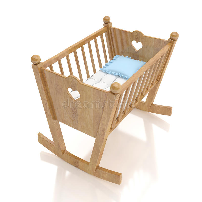 Wooden baby cradle with blue pillow isolated on white background stock image