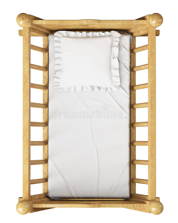 Wooden baby cradle with pillow isolated on white background, top view vector illustration