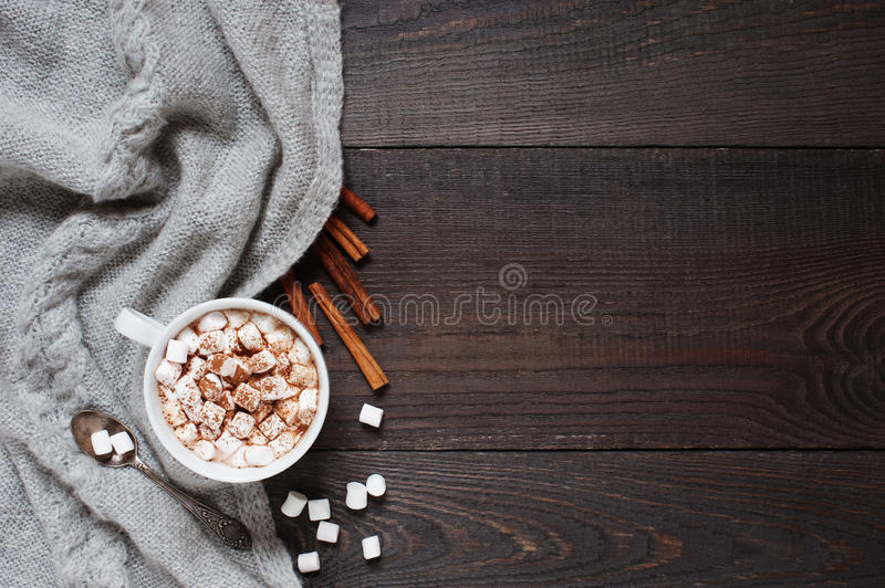 Wooden background with cap of cacao stock photo