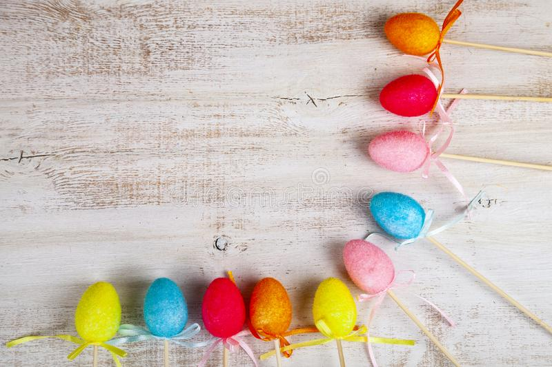 Easter eggs on wooden background. stock photo