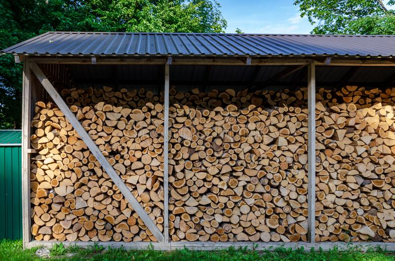 Wooden background. Firewood drying for the winter, stacks of firewood stock images