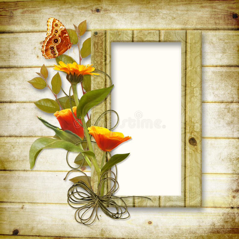 Download Wooden Background With A Frame For A Photo And A B Stock Images - Image: 20630274
