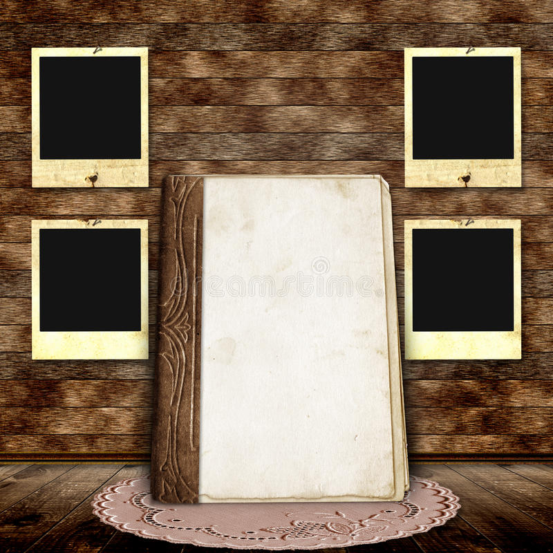 Wooden background with frames for photo stock illustration