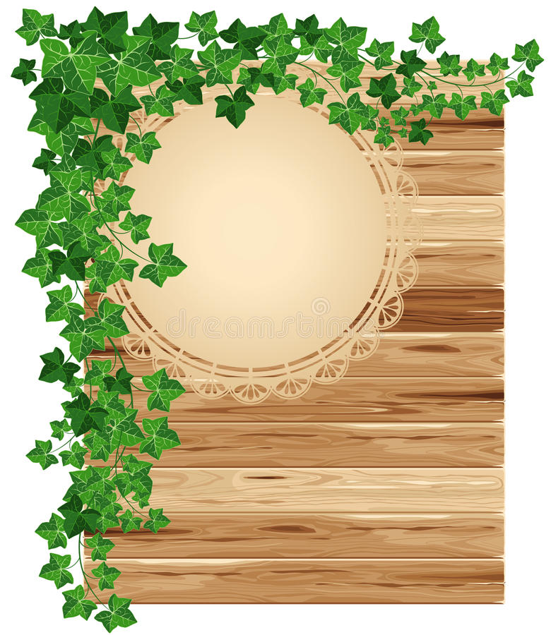 Download Wooden background with ivy stock vector. Illustration of label - 24504755
