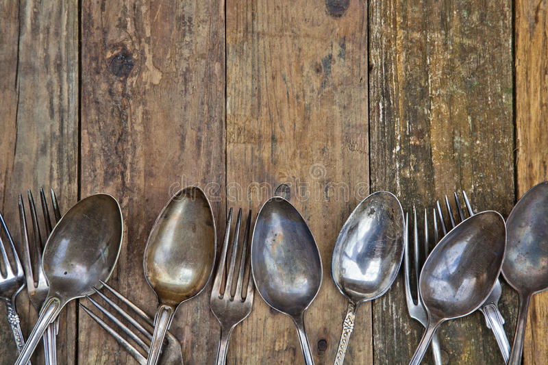Download Wooden Background With Old Cutlery Stock Photo - Image: 30596358