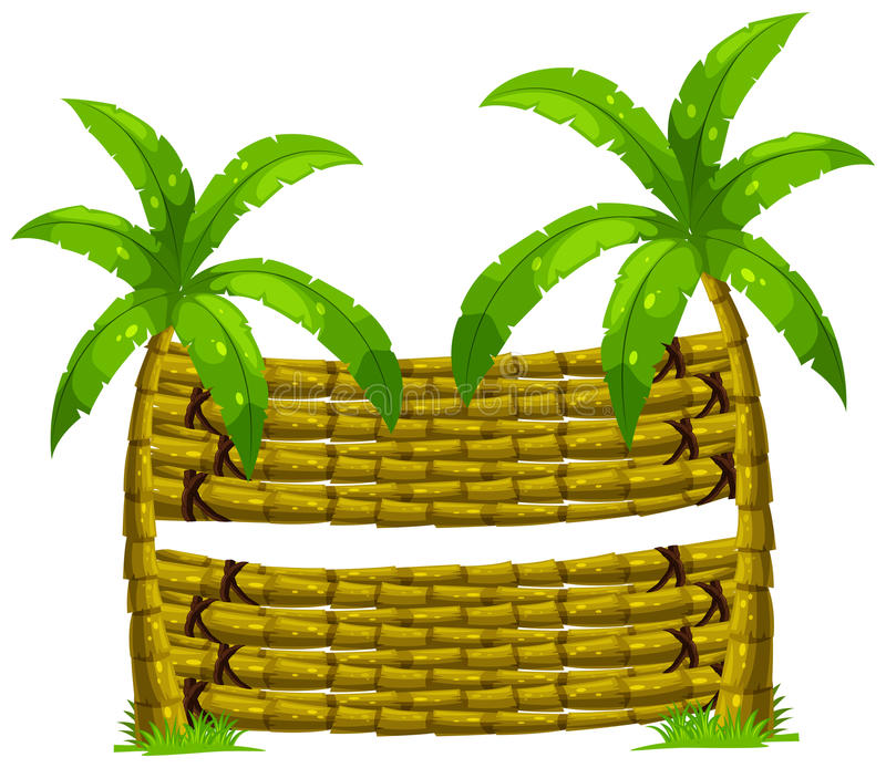 Wooden background with two coconut trees stock illustration