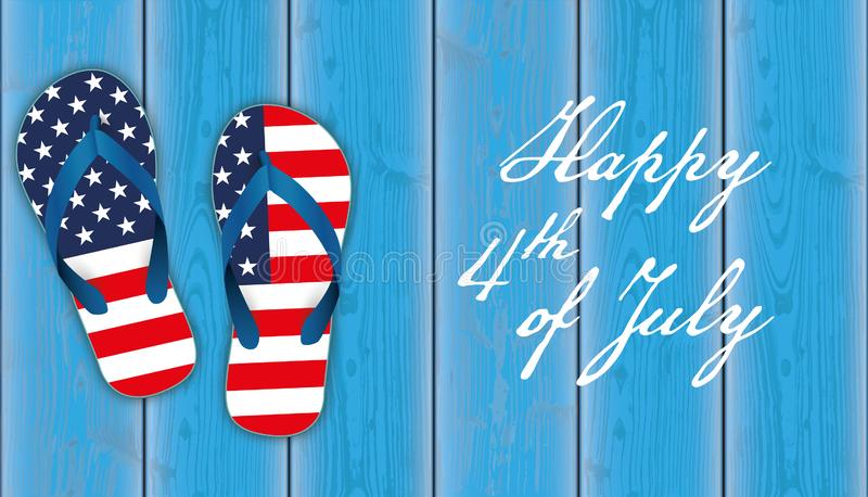 Happy 4th July Wood US Flag Flipflops Planks royalty free stock image