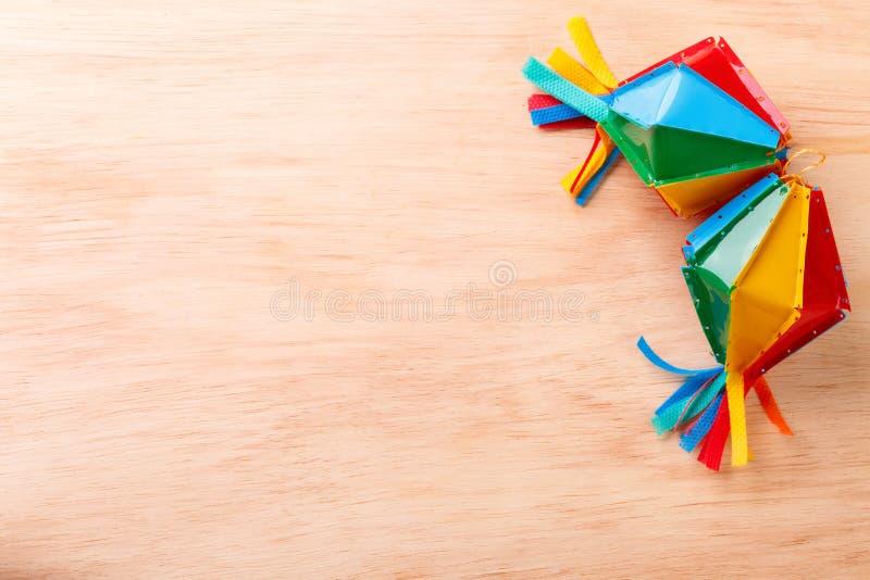 Wooden background with wicker hat for brazilian festivel Festa Junina stock photo