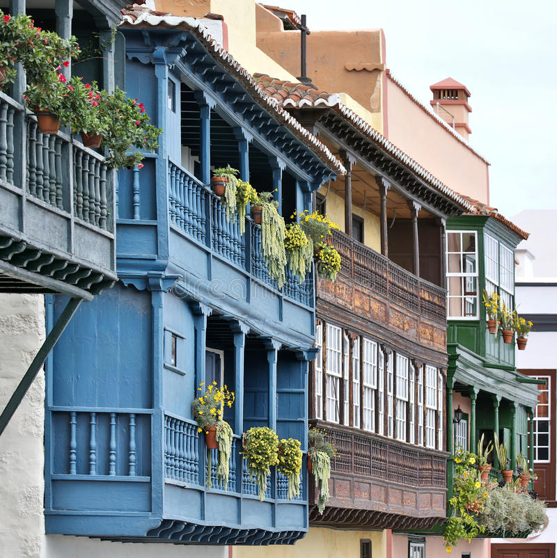 Wooden balconies at La Palma, Canary Islands royalty free stock images