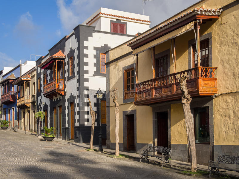 Wooden Balconies in Gran Canaria, Spain. Wooden balconies on historic buildings in the Calle Real de la Plaza in the ancient town of Teror, Gran Canaria, Spain royalty free stock image