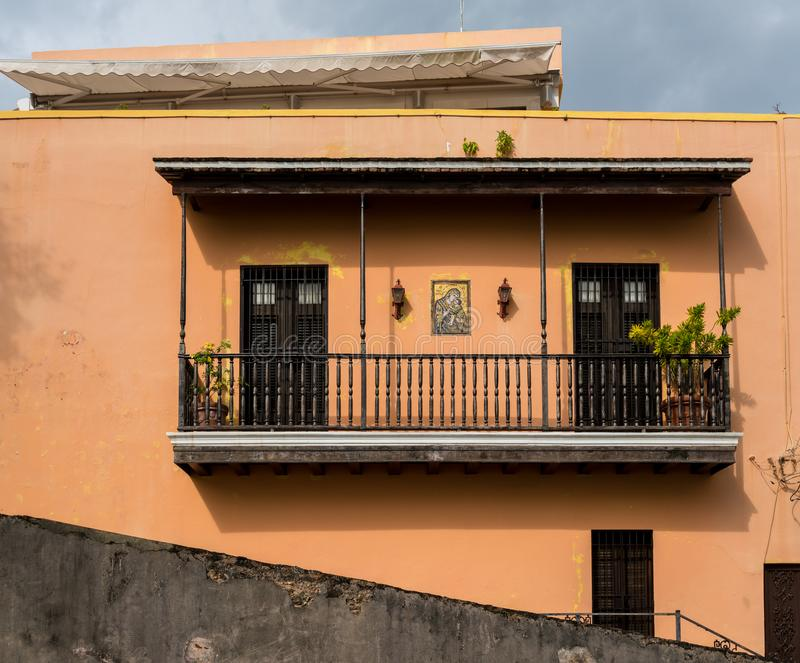 Colorful home with balcony in old San Juan, Puerto Rico stock photo