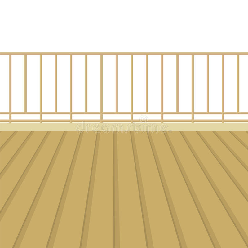 Wooden Balcony With Wooden Floor. Vector Illustration royalty free illustration