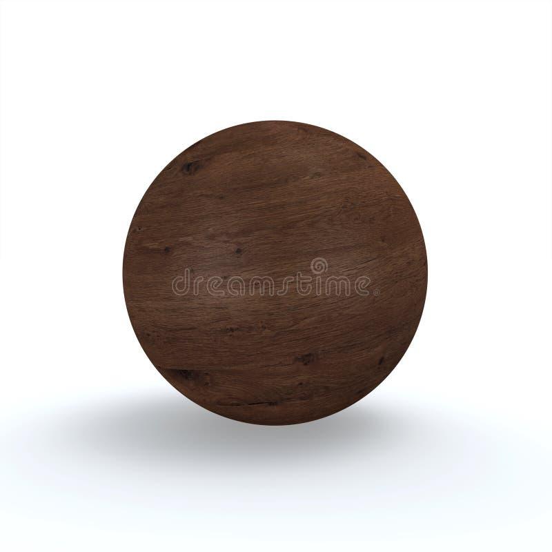 Wooden Ball Dark Oak. 3D Illustration Wooden Ball Dark Oak on white Background vector illustration