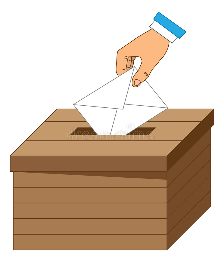 Wooden ballot box with a vote letter stock illustration