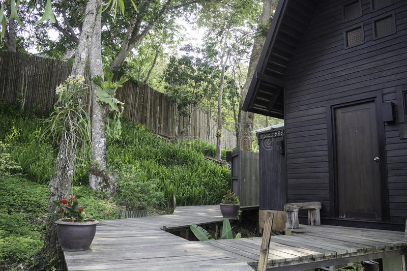 Wooden bangalow in hotel resort. Stock photo royalty free stock photos