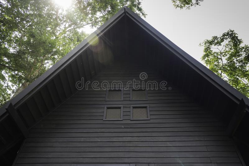Wooden bangalow in hotel resort. Stock photo stock images