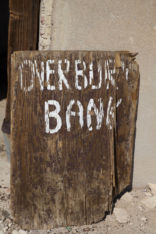 Wooden Bank Sign stock photo