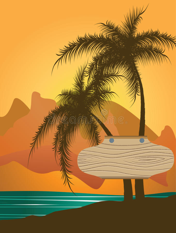 Download Wooden Banner Beaten To Palm Trees Royalty Free Stock Images - Image: 21538929