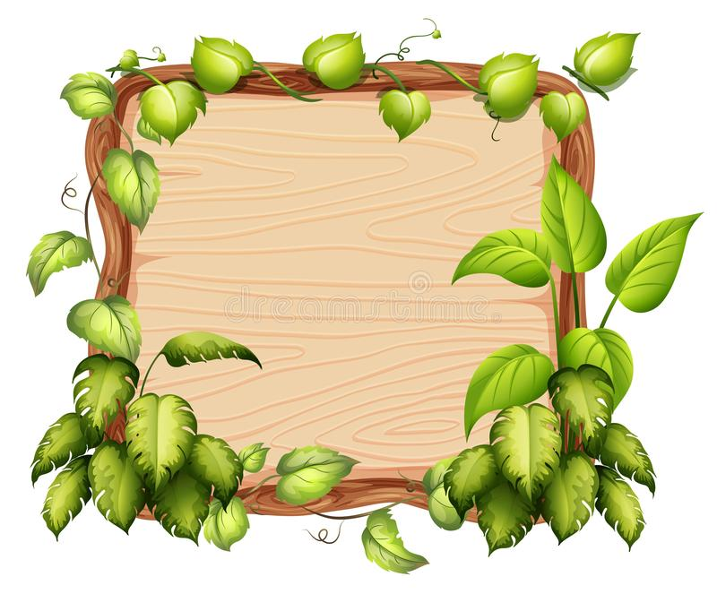 A wooden banner with green leaf vector illustration