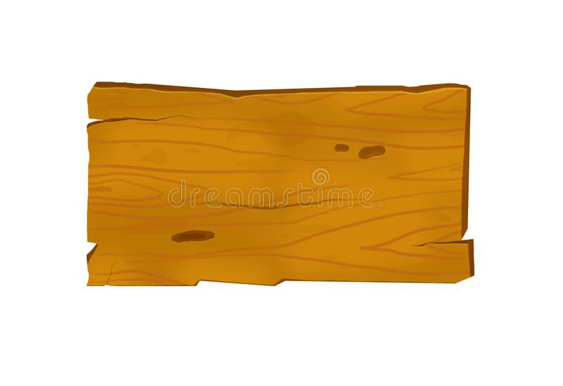 Wooden banner wih wood drawing plank isolated. Wooden banner with wood drawing plank isolated on white vector illustration