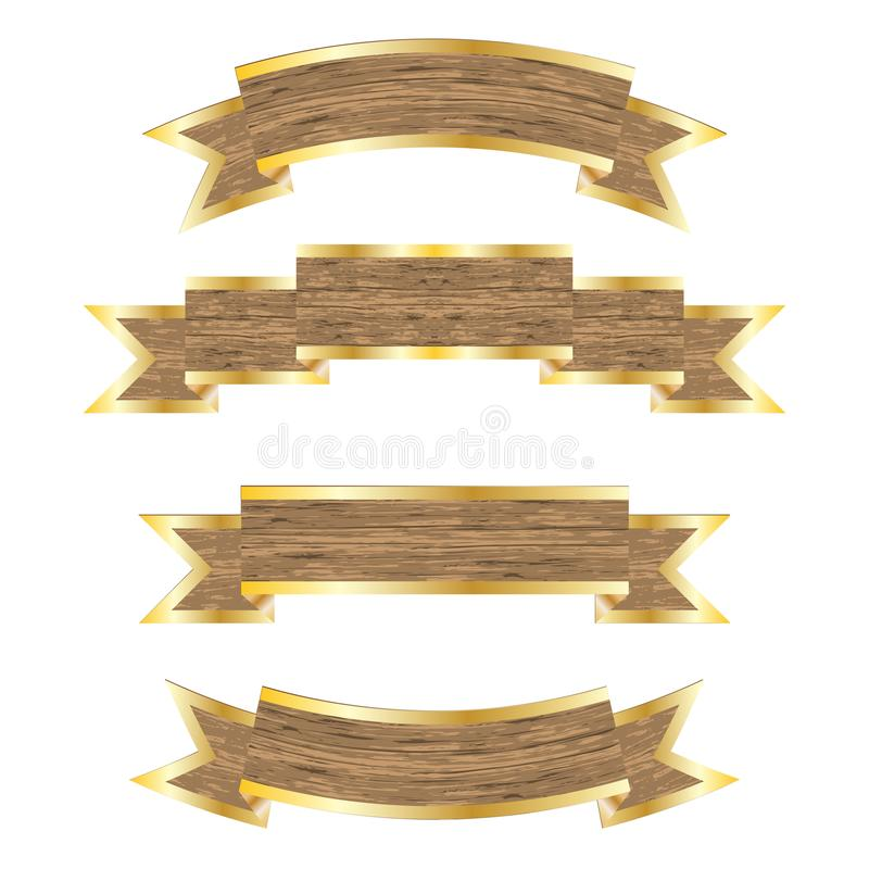 Wooden_banners_set 向量例证