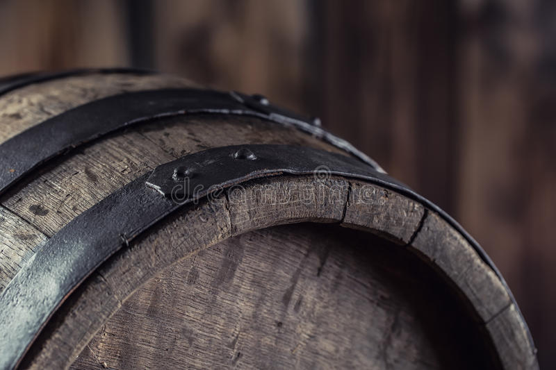 Wooden barel. Old wooden keg. Barel on beer vine whiskey brandy rum or cognac stock photography