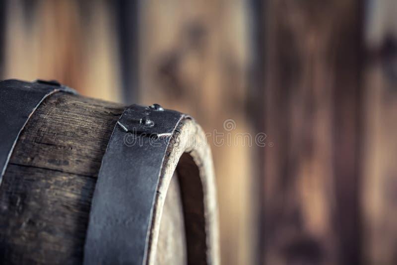 Wooden barel. Old wooden keg. Barel on beer vine whiskey brandy rum or cognac stock photography