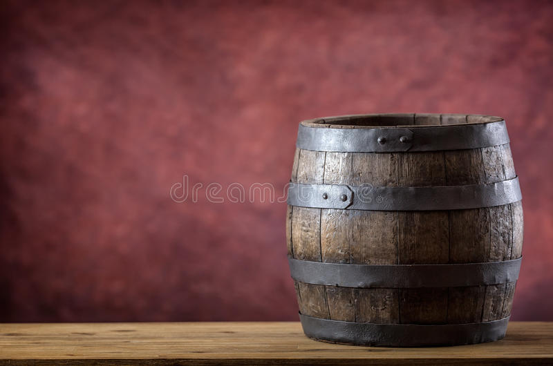 Wooden barel. Old wooden keg. Barel on beer vine whiskey brandy rum or cognac royalty free stock images