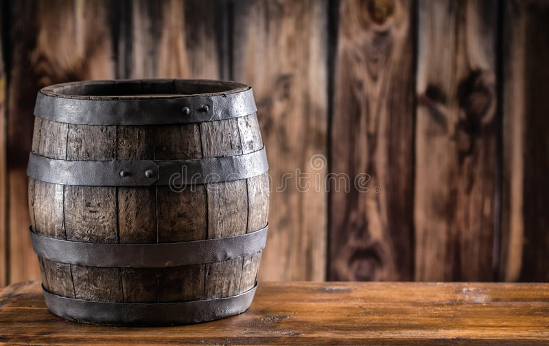 Wooden barel. Old wooden keg. Barel on beer vine whiskey brandy rum or cognac stock image