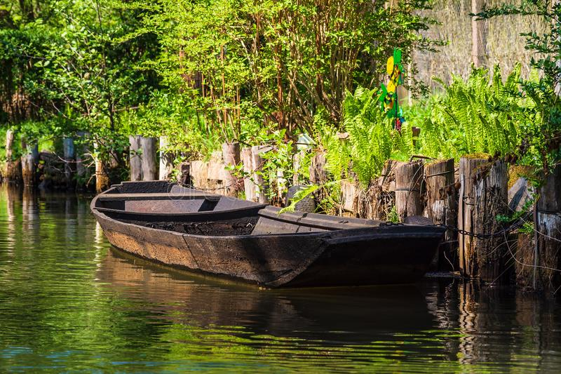 Wooden barge in the Spreewald area, Germany stock images