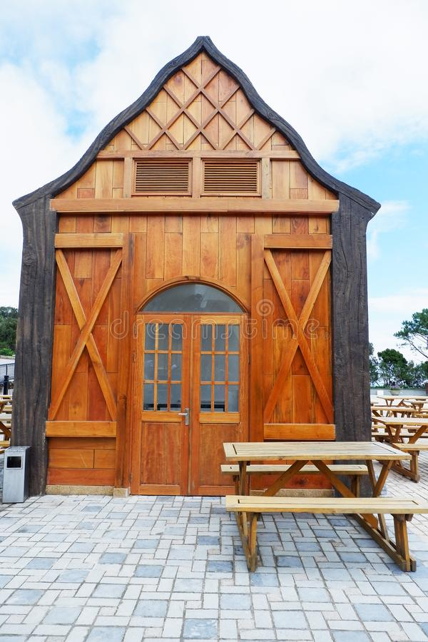 Wooden barn house cafe coffee house royalty free stock photography