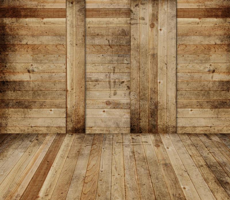 Wooden barn interior. Background with copyspace stock image