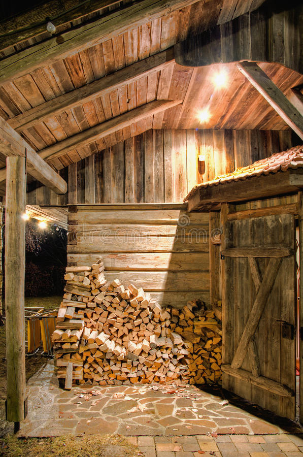 Wooden Barn at Night. Detail of a wooden Barn at Night stock image