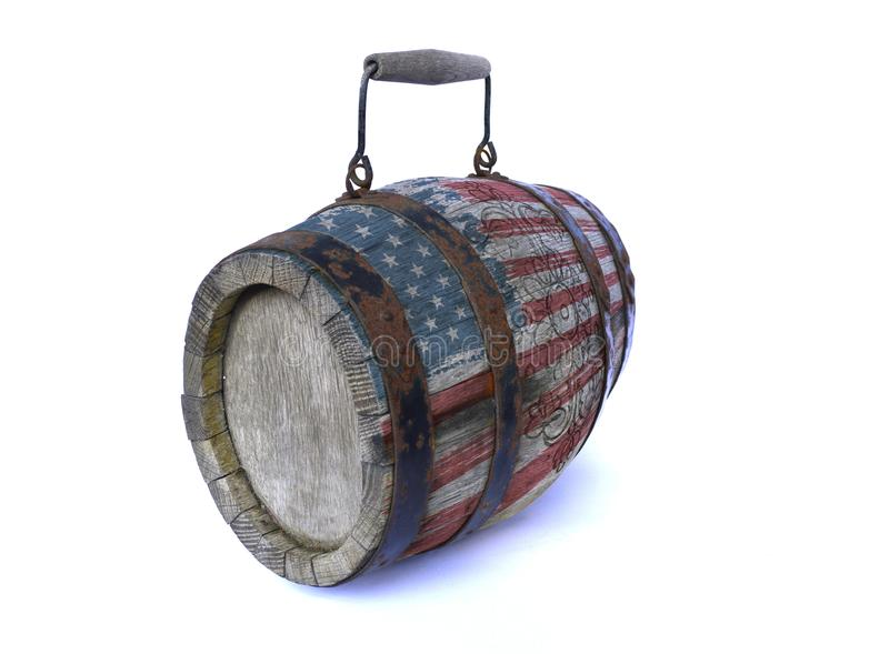 Wooden barrel with the American flag. On a white background royalty free stock photo