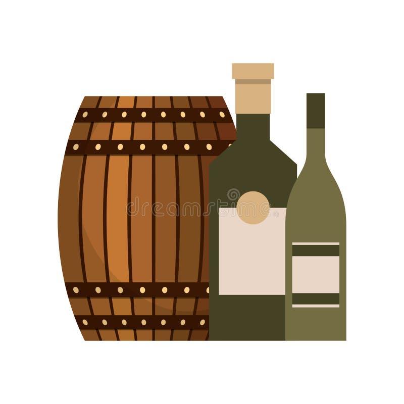 Wooden barrel beer and bottles liquor. Vector illustration vector illustration