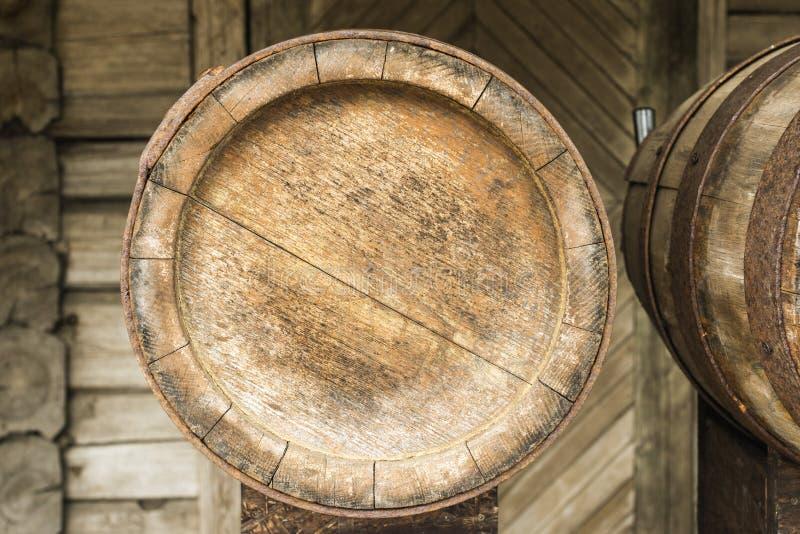 Wooden barrel bottom. Blank wooden barrel bottom background royalty free stock photos