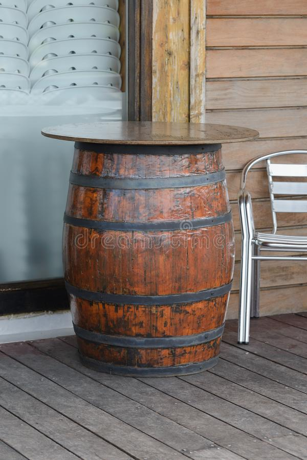 Wooden barrel in the cafe-bar. Image of wooden barrel in the cafe-bar royalty free stock photos