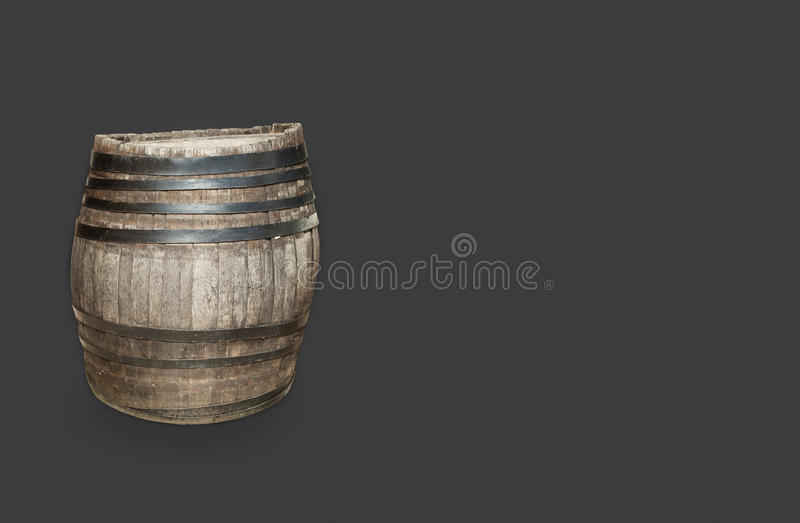 Wooden barrel. Cask for wine or beer on gray background stock images