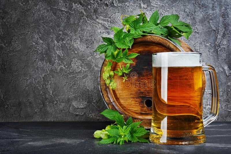 Wooden barrel of craft beer with glass mug and hops in dark cellar. On gray concrete background royalty free stock photo