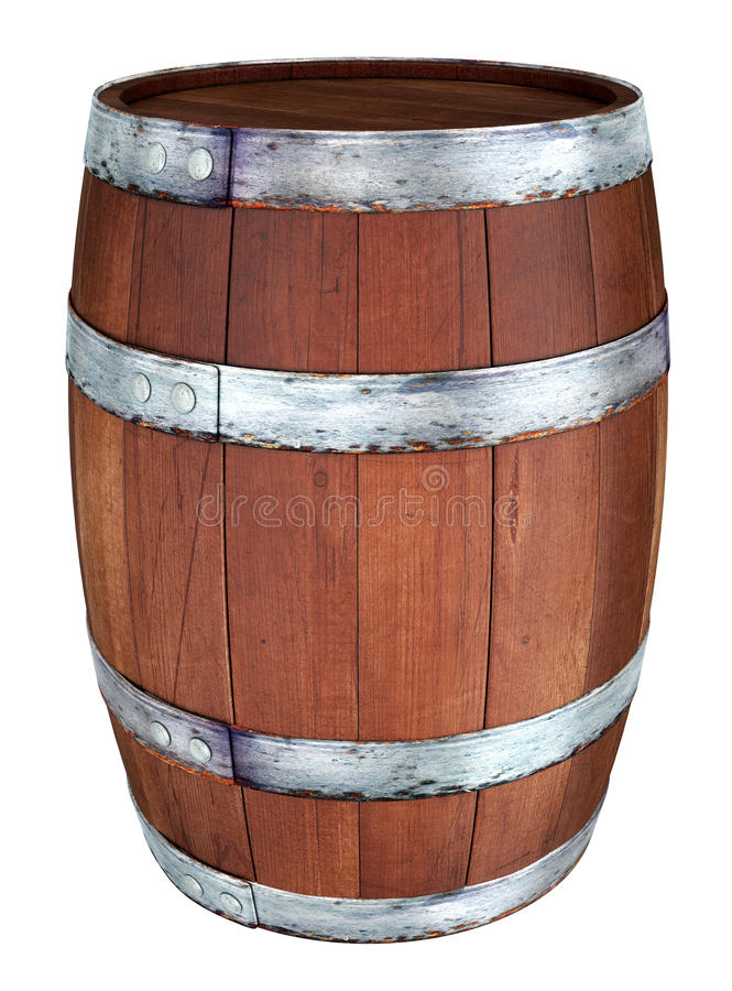 Wooden barrel. 3d image. Isolated on white royalty free illustration