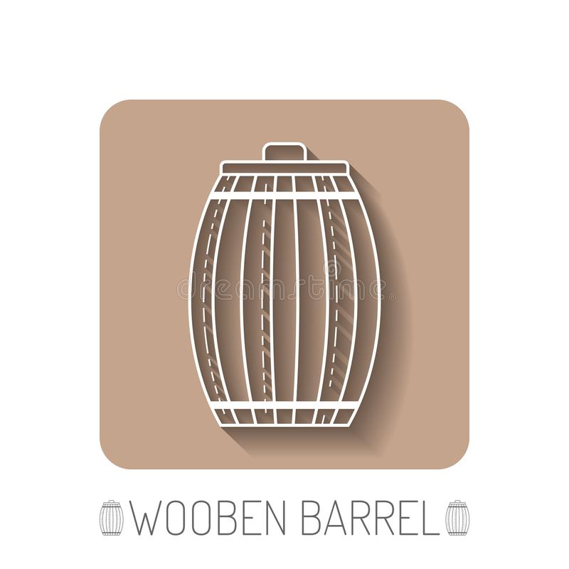 Wooden barrel. Flat icon silhouette on a white background. Vector. Illustration royalty free illustration